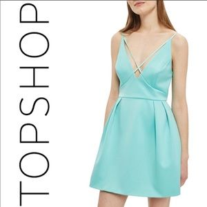 Topshop turquoise front cross short dress